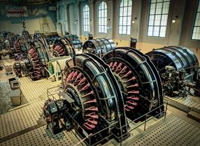 The machine hall at the Norwegian Industrial Worker Museum Vemork at Rjukan i Telemark