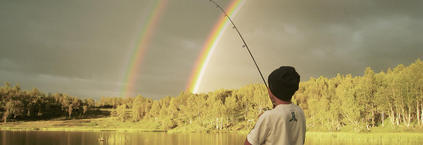 fishing after the rain with a nice rainbow in Telemark