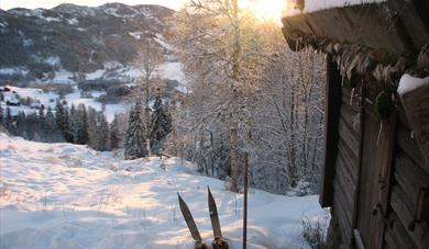 From the Winter, Sondre's cabin with original skis outside